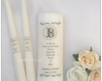 Unity Candle Set - Monogram Unity Candle - Personalised Unity Candle - Wedding Candles - Unity Candle