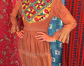 Mexican Embroidered Dress Mexican Wedding Dress Lace Crochet Dress 70s Mexican Dress