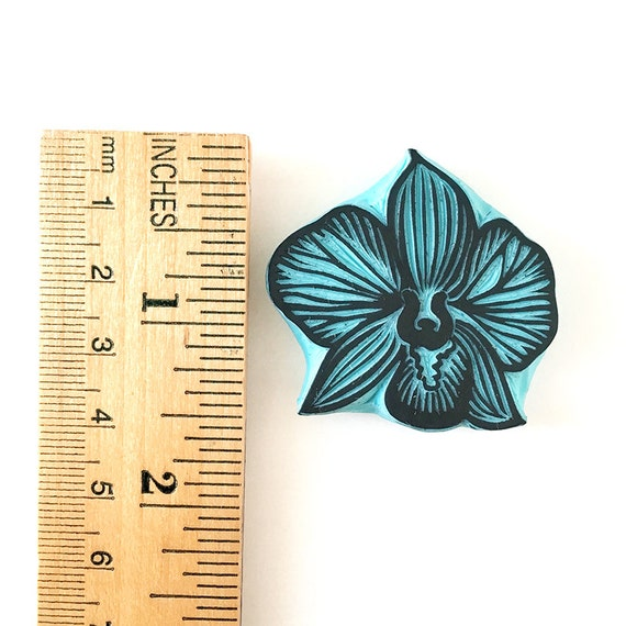 Orchid rubber stamp hand carved flower stamping supply