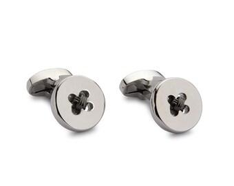 Button Cufflinks - Charcoal Weave