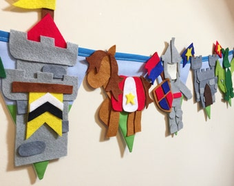 Knights and dragons bunting decoration