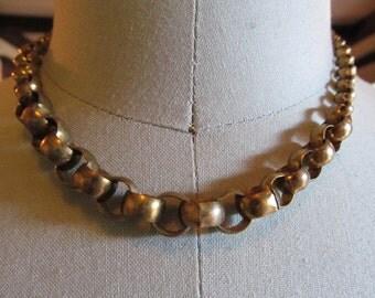 1950's Handmade Gradated Round Box Chain Copper Necklace ~ Jewel Neckline