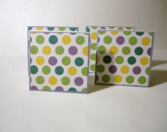 "Set of 4 Polka Dot 3""x3"" blank cards"