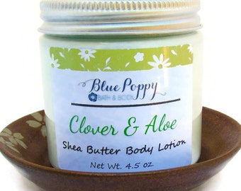 Clover & Aloe Body Lotion, Shea Butter Lotion, Body Cream Moisturizer, Hand Lotion, Bath Gift