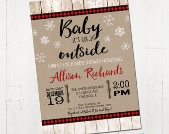Winter Baby Shower Invitation, Baby It's cold outside invitation, rustic baby shower invitation, digital, Printable Baby Shower Invitation