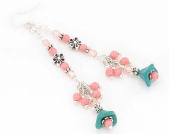 Turquoise and Strawberry Cream Flower Dangle Earrings, Czech Glass Bead Earrings, Spring Jewelry, Summer Jewelry, Mothers Day Gift