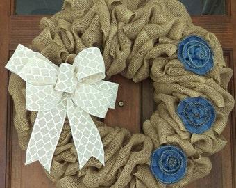 Dainty Burlap Floral Wreath
