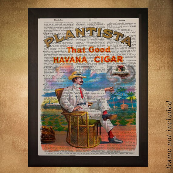 Cigar Box Wall Art: Cuban Cigar Dictionary Art Print Wall Art Cigar Poster Gift