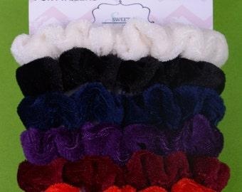 6pcs Pack Velour New Girls Elastic Hair Ties Scrunchies Ponytail Holder Hair Accessories Mini size