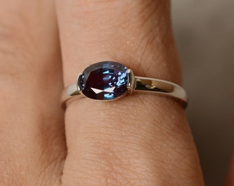 Alexandrite Ring Solitaire Ring Promise Ring Oval Cut Gemstone Alexandrite Ring
