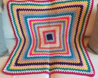 Retro Vintage Handmade Crochet Granny Afghan Blanket Throw
