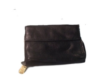 Black Pebbled Leather Tusk Shoulder Purse