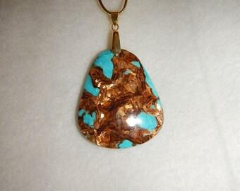 Turquoise Bronzite pendant necklace (JO482)