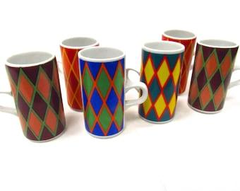 Vintage Smug Mugs - Set of 6 -1970's Harlequin
