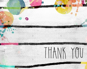 Thank You card with stripes and watercolors