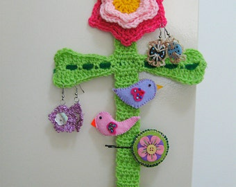 Cute, crocheted flower accessory keeper - holds hair clips, bobby pins, ribbons, bands, earrings, jewellery and more