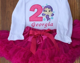 Bubble Guppy, Oona Birthday Shirt, Bubble Guppy Appliqué Shirt, Long or Short Sleeeve