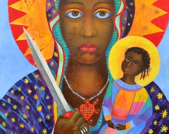 Voodoo priestess Black Madonna Erzulie Dantor POSTER A4-A3 Day of the dead print Black Madonna print Esoteric painters New Orleans Saints
