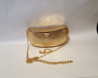 Antique Rodo Gold Brushed Metal Clutch, Shoulder Bag with Gold Chain Excellent Condition - On Clearance Now!