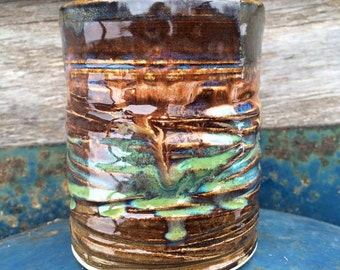 Whirlwind Textured Tumbler - 10 Ounces - Wheelthrown Pottery