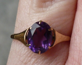 AMETHYST CLAW PRONG - Yellow Gold - February Birthstone - Vintage - Victorian - Purple Stone