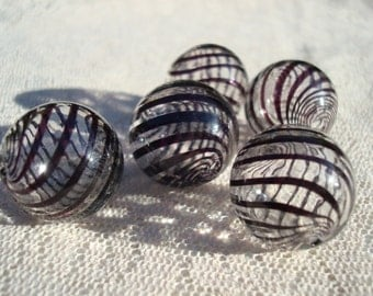 6 Big, Black Striped, Handmade Hollow Lampwork Beads.  20mm  Handblown Glass Balls. Unique Boho Earring Potential.  ~USPS Ship Rates/OR