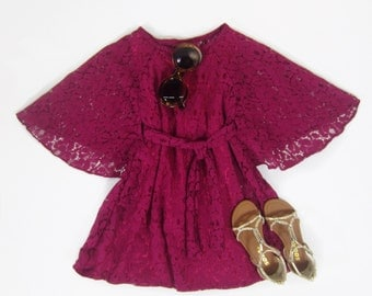 Girls Boho Pink Lace Kimono Dress, Boho Lace Dress, Dresse, Girls Clothing, Dresses for Girls Sizes 4/5, 6/6X, 7/8, 10/12, 14 Ready to Ship