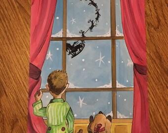 Waiting for Santa: Watercolor Painting