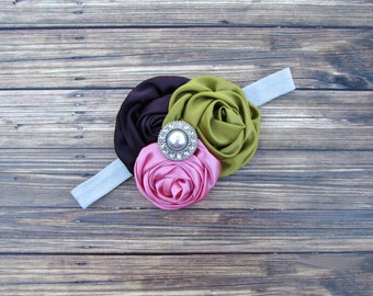 Pink, Eggplant and Olive Headband,Pink Headband,Eggplant Headband,Olive Green Headband,Infant Headband,Baby Headband,Vintage Headband