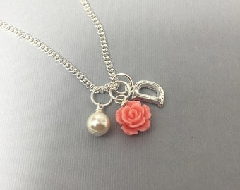 Personalized Initial Rose Flower Girl Necklace Bridesmaids Necklace