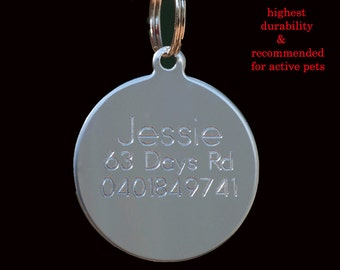 Stainless Steel Circle Pet Dog Cat Tags Free Customized Personalized Engraving