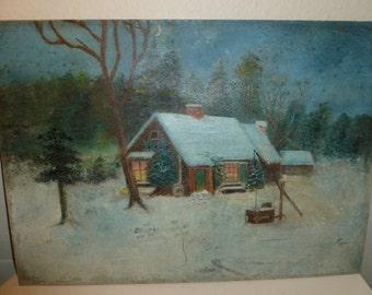 Vintage Christmas Cottage Log Cabin Winter Scene Oil Painting