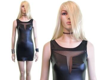 Sci Fi dress club kid goth dress rave dress futuristic dress pleather dress sheer mesh dress black mini dress faux leather dress s m l