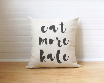 Kale Yeah Eat More Kale Pillow Fitness Gifts Gift for Yogi Healthy Living Yoga Lovers Yoga Pillow Yoga Decor Throw Pillow Quote Pillow