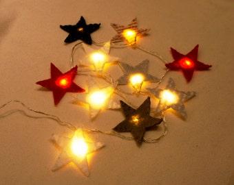 Star Felt String Lights, Star night light felt, nursery light, Christmas light, twinkle lights, Christmas decor, twinkle light garland