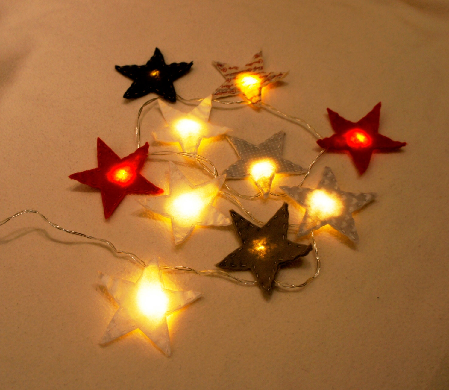 Star Felt String Lights Star night light felt nursery light