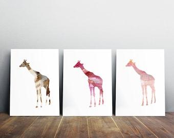 Giraffe Art - Giraffe Watercolor - 3 Prints - red pink brown - Home Decor - Nursery Art Animal Painting - silhouette Giraffe illustration