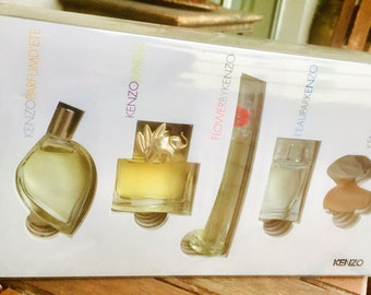 Box 5 Kenzo perfume miniatures, collection limited edition blister, the best gourmet wife Kenzo in the 1980s
