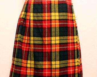 70s vintage Scottish Sportswear kilt skirt made in scotland