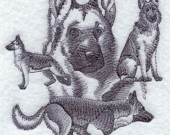 Embroidered  German Shepherd Bathroom Hand Towel -embroidered Dog  guest towel