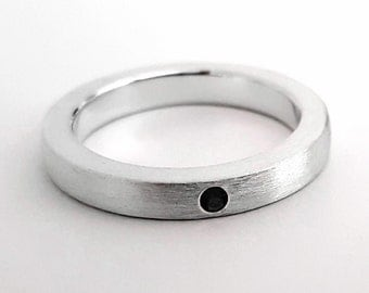 Thin Brushed Black Spinel Band in Sterling Silver - Black Spinel Band, Black Spinel Ring, Sterling Silver Wedding Band, Brushed Band, Ring