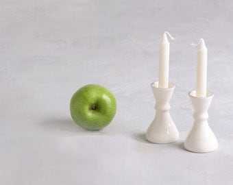 Ceramic candlestick, tall candle holders, candle holder, white ceramic candle holder