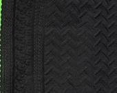 Black cotton eyelet fabric with border, black eyelet, black cotton lace, black fabric with border