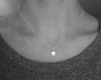 Little Silver Star Necklace. Birthday or Bridesmaid Gift or Thank You present.UK