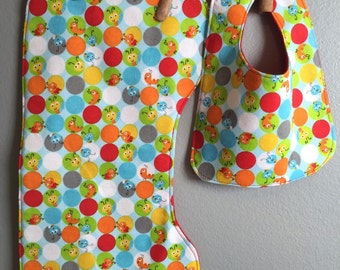 Caterpillar Baby Bib, Burp Cloth Gift Set