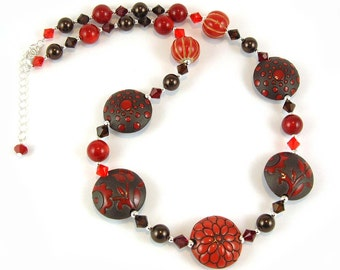 Rich Red Ceramic Necklace