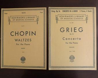 Classical Piano Sheet Music Books of Chopin & Grieg