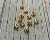 Zinc Alloy Beads Spacers, Snowflake, Golden - 50 pieces