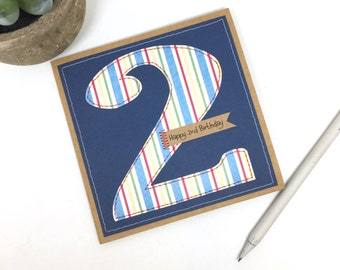 2nd birthday card age number 2 two, boys birthday number card