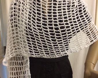 Mother's Day gift/crochet shawl/shawl/free size/wrap/handmade shawl/fishnet shawl/lacy/airy/shiny yarn/women accessories/clothing/crochet
